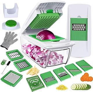 Mandoline Cuisine Multifonction Couper les Legumes Séparer les Oeufs Vert 7Lames Couteau en Acier Inoxydable Rapide et Fac...