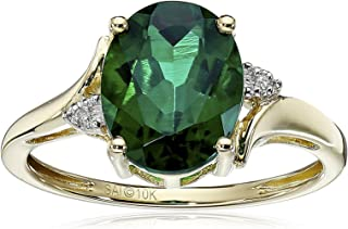 10k Yellow Gold Created Emerald and Diamond Oval Ring, Size 7
