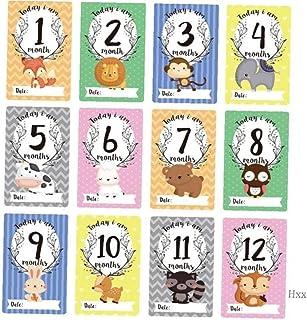 Hotaden 12 Foglio Cards Milestone Photo Sharing Gift Set Bambino età Baby Cards Milestone Baby Cards Photo Cards Newborn Foto