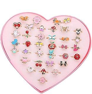 Ouinne 36 stycken barnringar flickor, justerbara ringar gnistrande med hjärtform vitrinskåp för barn leksaker födelsedag p...