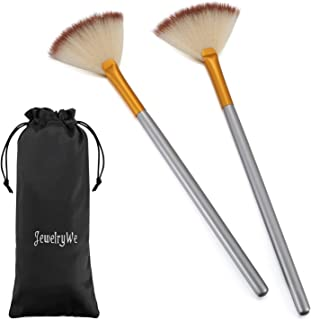 JewelryWe Pack of 2 Fan Mask Brushes Acid Applicator for Glycolic Peel/Masques