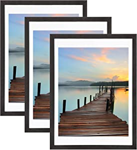 Sindcom 18x24 Picture Frame 3 Pack, with Detachable Mat for 16x20 Pictures, Wall Mounting Charcoal Gray Photo Frame, Pre-Installed Hanging Hooks for Portrait or Landscape Mode