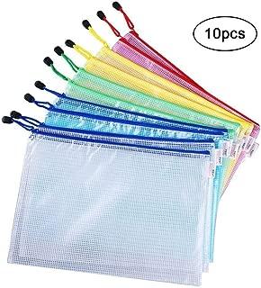 Vicloon Bolsa de Archivo de Cremallera, 10 Pcs A4 Bolsa de Documentos de Plástico de Impermeable 5 Colores, Bolsas de Archivos de Malla para Cosméticos de Oficina Viaje de Tarea Escolar