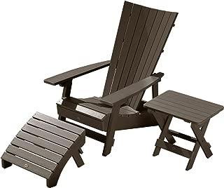 Highwood AD-KITADRI3-ACE Adirondack Chair with Side Table & Ottoman, Weathered Acorn