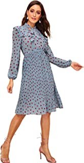 Women's Polka Dot Tie Neck Ruffle Trim A-Line Flowy Swing Dress