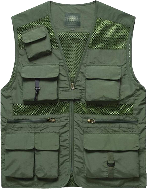 JXILY Men's Outdoor Vest Light Weight Full Zip Quick-Dry Waistcoat,Summer Sleeveless Mesh Travel Photography Jackets,Green,L(110~130)