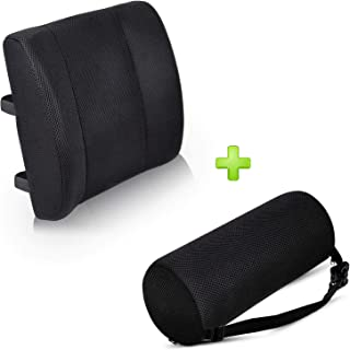 Lumbar Roll Pillow and Lumbar Square Cushion Premium High Density Foam Roller with A Lumbar Support Cushion Made from High Quality ! Best Products for Lower Back Pain Relief Set of 2