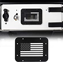 Hooke Road Jeep Wrangler Tailgate Vent, Spare Tire Mount Delete Plate for 2007-2018 Wrangler JK & Unlimited(US Flag)