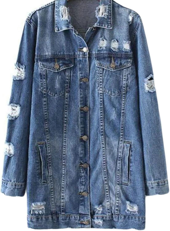 GAGA Women's OverSized Distressed Destroyed Wash Cargo Denim Jacket