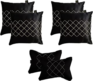 "Lushomes Grey Car Set (4 pcs Cushions & 2 pcs Neck Rest Pillow) with Artistic Stitch (Cushion: 12''x12'', Neck Pillow: 6""X10"") (Black)"