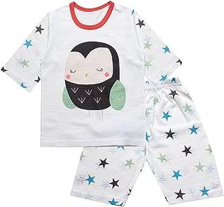 OllCHAENGi Toddler Kids Boys Girls Cotton Pajama Set 3/4 Sleeve 3T-14Y Owl
