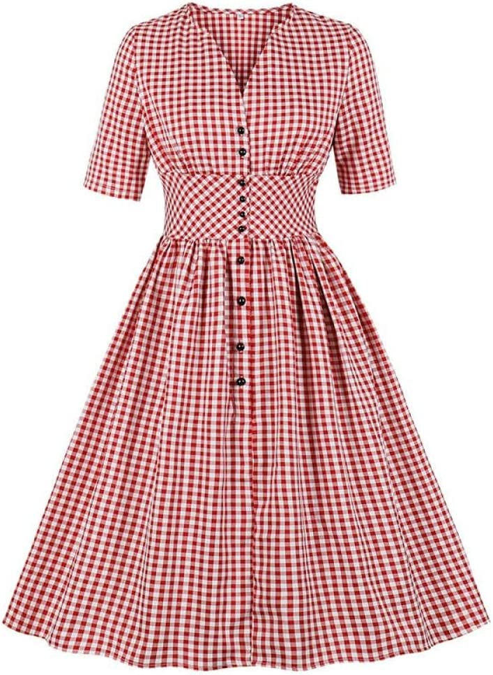 YLDCN Lowest price challenge Girls' Skirts Retro High Waist Red Single Plaid Cheap sale Breasted P