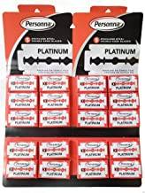 Personna Israeli Platinum Red Chrome Double Edge Stainless Steel 100 Blades 20BX