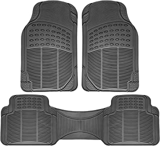 OxGord 3pc Full Set Ridged Rubber Floor Mats, Universal Fit Mat for SUVs Vans- Front Rear, Driver Passenger Seat, Rear Runner, and Trunk Liner Gray