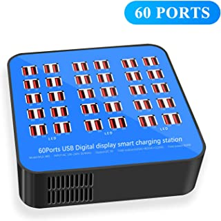 USB Charging Station, 60 Ports USB Power Station,Multi Port USB Wall Charger Adapter, Noninterference Multiport Desktop USB Rapid Charger for Hotel School Shopping malls(2019 Newest Style)