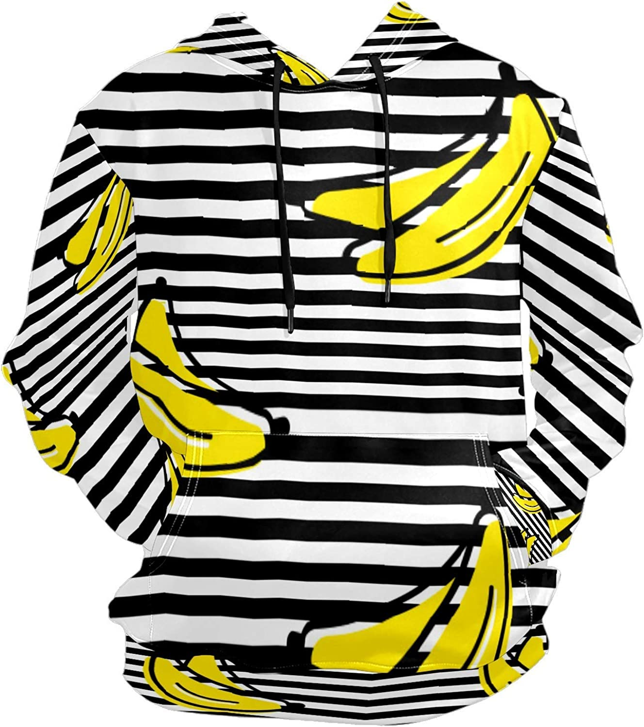 Men's Sport Hoodie Banana Fruit Black And White Stripes Big and Tall Hoodies for Men Women Oversized Hooded Sweatshirt Hip Hop Pullover Hoodie Midweight Hood for Boys Girls
