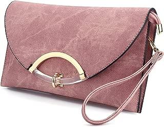 SSMY Women Leather Evening Clutch Bag Shoulder Handbag Messenger Envelope Bags with Adjustable Strap