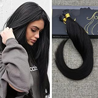 Ugeat 20inch Keratin Bonded Hair Extensions Solid Color #1B Off Black Straight I Tip Remy Brazilian Human Hair Extensions 0.8g/s Glue Fusion Hair Extensions