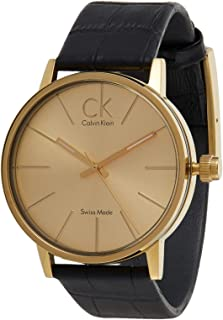 Calvin Klein Men's Gold Dial Leather Band Watch - K7621501