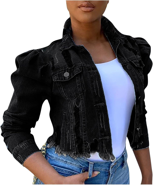 CANDITY Women's Short Denim Jacket Pocket Jacket Stand Collar Jacket Coats for Women Fashion Casual Slim Fit Coat