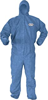 Kleenguard Chemical Resistant Suit, A60 Bloodborne Pathogen & Chemical Splash Protection Coveralls (45027), Hood, 4XL, Blue, 20 Garments/Case