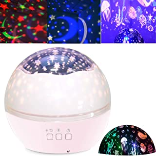 Star Projector Night Light Kids Baby Projection Lamp 360° Rotating Starry Sky Ocean Projection Night Light 8 Colors Changing Light for Children Kids Boys Girls Bedroom Party Birthday Nursery (Pink)