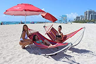 HoverSeat Folding Beach Hammock. Portable Aluminum Hammock Stand for Beach and Outdoors. Folds into Carry Bag. Comes with Free Hammock Fabric. Unique Moon Like Shape.
