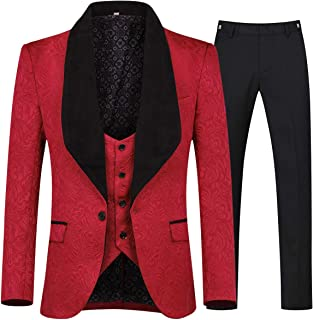 Men's 3 Piece Suit Slim Fit Jacquard Tuxedo One Button Shawl Collar Jacket Vest & Trousers