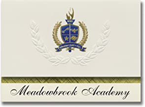 Signature Announcements Meadowbrook Academy (King, NC) Graduation Announcements, Presidential style, Elite package of 25 with Gold & Blue Metallic Foil seal