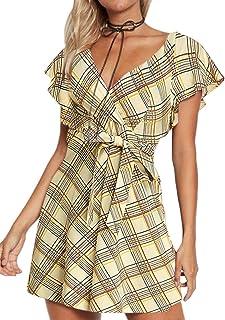 YOINS Abito Elegante Tuta Donna Jumpsuit da Donna Vestiti Estivo Casuale a Maniche Corte Abiti con Scollo a V Monopezzi e ...