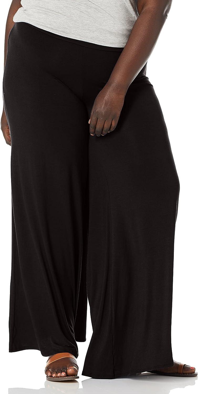 Star Vixen Women's Plus-Size Stretch Ity Knit Wide-Leg Palazzo Pant