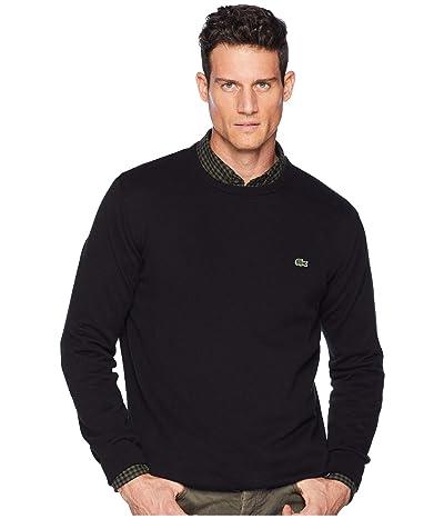 Lacoste Long Sleeve Half Moon Crew Neck Jersey Sweater (Black/Flour/Black) Men
