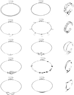 Hanpabum 15 Pcs Anklets and Toe Ring Set for Women Silver Gold Rosegold Beach Chain Layered Ankle Bracelets Open Toe Rings...