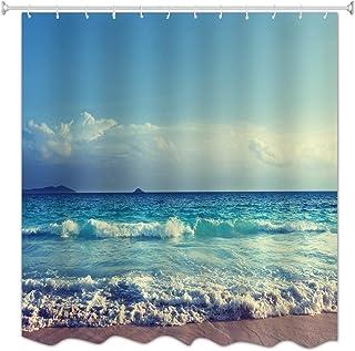 A.Monamour Azul Océano Mar Playa Cielo Nublado Playa Naturaleza Tropical Paisaje Imprimir Poliéster Tela Cortinas De Ducha De Tela Poliester Antimoho para Cuarto De Baño 150X180 Cm / 60