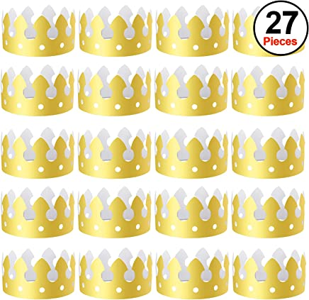 Amazon com: SIQUK 27 Pieces Gold Paper Crowns Party King Crown Paper