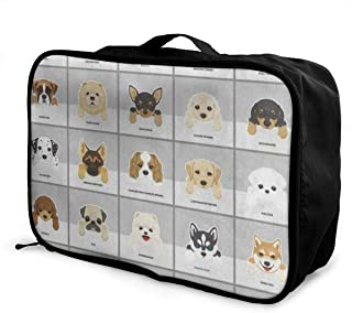 Lightweight Large Capacity Portable Luggage Bag Funny Dog Pug Puppy Dachshund Travel Waterproof Foldable Storage Carry Tote Bag