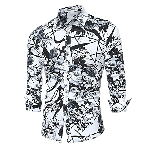 89c63996bf30 Cloudstyle Men s Shirt Stylish Slim Fit Button Down Long Sleeve Floral Shirt