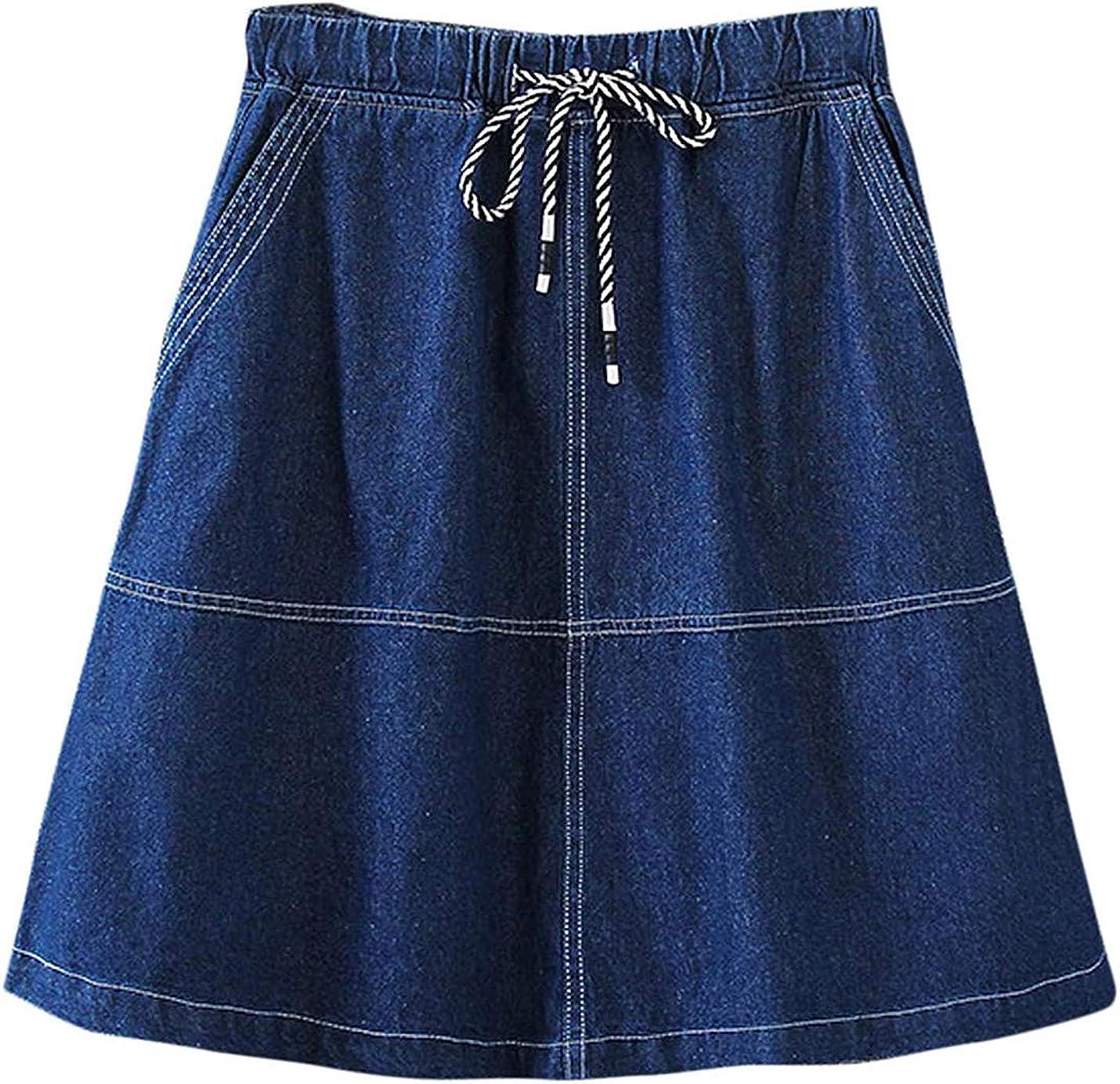 PAODIKUAI Women's Casual Drawstring Elastic Waist A-Line Denim Mini Skirt