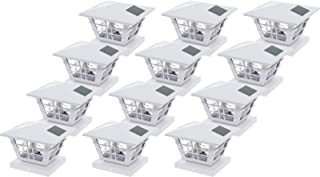 GreenLighting 5×5 Solar Post Cap Light with 4×4 Base Adapter (White, 12 Pack)