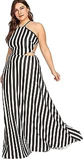 Women's Plus Size Dresses Summer Sleeveless Halter Neck Party Long Maxi Dress