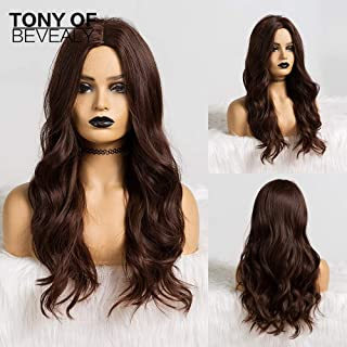 Long Wavy Ombre Brown Blonde Synthetic Wigs for African American Women Heat Resistant Fiber Middle Part Cosplay Wigs (Color : Lc133 1)
