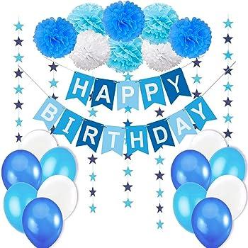 O Kinee Decoration Anniversaire Garcon Ballons Anniversaire Bleu Banniere Joyeux Anniversaire 1er Anniversaire Garcon Deco Ballons Bleu Et Pompons Papier Pour Enfant Fete Amazon Fr Cuisine Maison