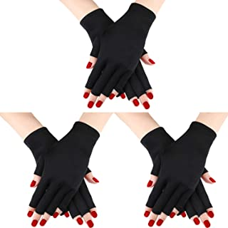 3 Pairs UV Shield Glove Gel Manicures Glove Anti UV Fingerless Gloves Protect Hands from UV Light Lamp Manicure Dryer (Color Set 1)