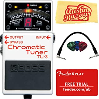 Boss TU-3 Chromatic Tuner Bundle with Fender Play Online Lessons, Picks, Patch Cable, and Austin Bazaar Polishing Cloth Tuner