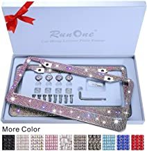 2 Pack AB Crystal License Plate Frame for Women,Luxury Rhinestone Sparkling License Plate Frame with Giftbox & Diamond Bli...
