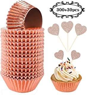 BAKHUK 330pcs Standard Rose Gold Cupcake Liners and Heart Cupcake Toppers, Foil Cupcake Wrappers for Baby Shower Wedding Party Decoration