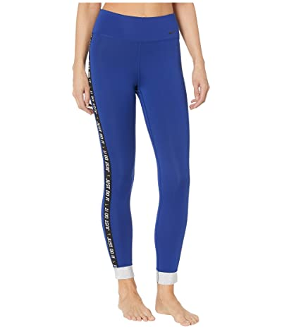 Nike One Icon Clash Cuff 7/8 Tights (Deep Royal Blue/Metallic Silver/Black) Women