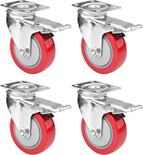 """4"""" Swivel Plate Caster Wheels, PRITEK Heavy Duty Metal Caster Wheels Lock The Top Plate and The Wheels Replacement for Industrial Trailer or Large Home Furniture (Bearing 300lbs Each, Set of 4)"""