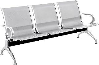 PrimeMatik - Chaises sur poutre pour salle d'attente avec 3 sièges ergonomique d'argent