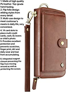 Case+Stylus, Universal Mybat Faux Leather Pouch/Purse/Clutch/Cover Fits iPhone Samsung LG Motorola, etc. Brown Wallet-Large with Card Storage, Detachable Snap on & Wristlet. Fits The Following Models:
